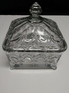 Vintage Candy Dish With Lid, Having Extreme Pressed Patterns, Footed