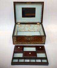 Antique Jewellery Box Sewing box Boulle Work Georgian Inlaid Brass