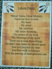 Native American Indian Laminated A6 Lakota Prayer Saying Blessing