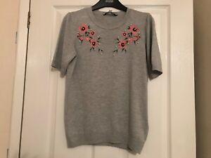 Dorothy perkins size 8 grey floral pearl jumper BNWT