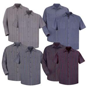 Red Kap Work Shirt Poplin Stripe 2 Pocket Men's Industrial Uniform