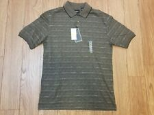 Haggar Work To Weekend Short Sleeve Polo Shirt Brown Striped Men's Size Md New