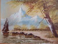 Tableau peinture petite aquarelle marine montagne bord lac voilier peintre