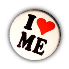 Badge I ♥ LOVE ME heart coeur moi même perso egoiste megalomane retro pins Ø25m