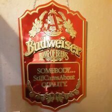 New listing Budweiser tin metal sign somebody still cares