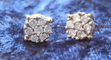 14K Yellow Gold Diamond 1/2 ct tw Cluster Pierced Earings--Excellent Condition