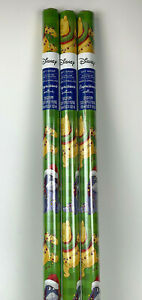 3 New WINNIE The POOH Green CHRISTMAS 20sqft WRAPPING Paper Eeyore TIGGER Lights