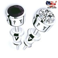 SET OF 2 MEN STUD EARRINGS WHITE AND BLACK AAA CZ STUDS SILVER PLATED EARRINGS