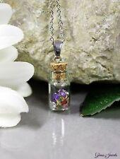 Glass Jewels Silber Kette Anhänger Zirkonia Bunt Glas Flasche Vintage Retro#M066