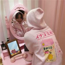 Korean Harajuku Cartoon Kawaii Printed Milk Box Pink Hoodie Sweatshirts