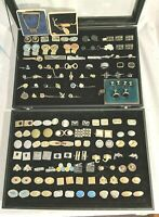 LOT OF 135+ MEN'S VINTAGE MODERN CUFFLINKS TIE BARS  TACKS WRAPS & 1 display