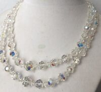 """Double Strand Faceted Aurora Borealis Crystal 14""""-16"""" Necklace #710A"""