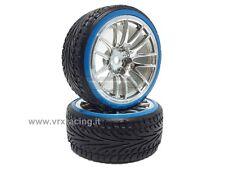 010F002C Coppia ruote complete di inserto 1/10 drift cerchio cromato argento VRX