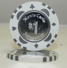 50pcs Monte Carlo Coin Inlay Poker Chips $1