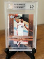 2003-04 UPPER DECK - LEBRON JAMES ROOKIE EXCLUSIVES #1 BGS 8.5 NM/MT+ RC! RARE🔥