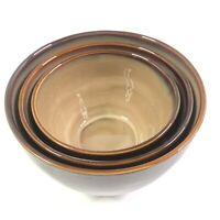"Sango Nova Brown Set of 3 Nesting Mixing Bowls 7"" 8"" 9.5"""