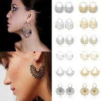 1 Pair Women Geometric Gold Silver Plated Alloy Hollow Statement Hoop Earrings