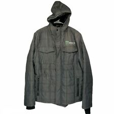 Monster Energy Drink Men's Size L Insulated Hooded Jacket Zip Up w/ Thumb Loops