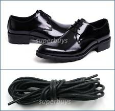 "Black 70cm Round Wax Waxed Cotton Shoe Work Boot Cord Dress Laces 28"" 2/3 Eyes"