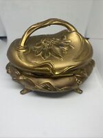 Art Nouveau Gilt Metal Jewelry Casket With Lining By Rogers
