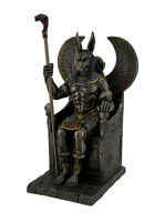 Bronze Finished Egyptian God Anubis on Throne Statue