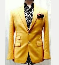 Mens Yellow Velvet Smoking Jacket Wedding Coat Dinner Party Wear Fashion Blazer