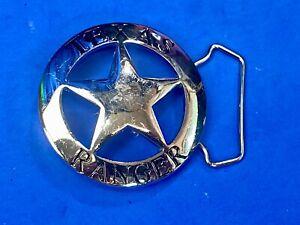 Texas Ranger Silver tone Badge Cut out star belt buckle