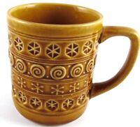 Brown Tan Vintage Pottery Geometric Shapes Swirls Coffee Cup Mug Made in Japan