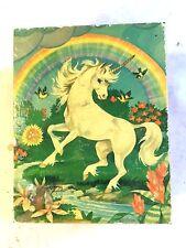 Vintage Souvenir Cedar JewelryTrinket Box w Unicorn Rainbow Deep Creek Lake Md