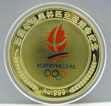 1992 Albertville France Winter Olympics Gold Colour Badge Coin