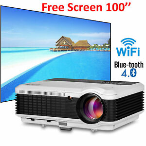 Android Wifi Projektor 1080p Blue-tooth Online-Film Youtube W/ 120In Bildschirm