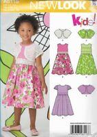 Simplicity A6118 New Look Girls Dress w/ Bolero Jacket 3 Versions Size 3-8 Uncut