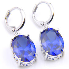Oval Shaped Shiny Ocean Blue Sapphire Gemstone Silver Dangle Hook Earrings