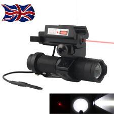 Tactical Hunting Flashlight White LED Torch&Mini Red Laser Sight Scope+Mount UK