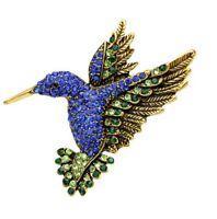 Brooch Bird Hummingbird Steel and Rhinestones Crystal Blue Dominant