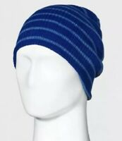 NEW Men's Striped Rib Reversible Beanie - Goodfellow & Co Blue One Size