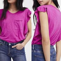 Women's Free People So Easy Pink front pocket ruffle sleeves Tee size M New/WT