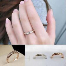 Gold 18K Rose Gp Elegent Classic Crystal Fashion Bridal Finger Ring Gift HF US