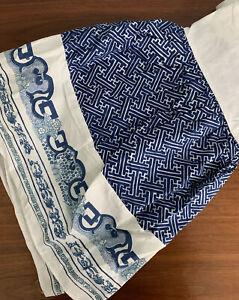 Ralph Lauren Bed Skirt Imperial Chinese Dragon Blue Fretwork Full Dust Ruffle