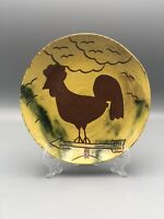 """BREININGER POTTERY Redware Plate ~7"""" Sgrafitto """"Cloudy Day""""~Rooster 1985"""