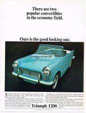 1964 Triumph 1200 Light Blue Convertible Vtg Print Ad