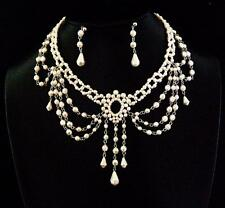 Ivory Cream Bead Victorian Burlesque Moulin Rouge Beaded Bridal Choker Set-40213
