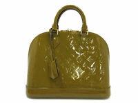 Authentic Excellent LOUIS VUITTON Vernis Alma PM M91582 Hand Bag Olive 87940
