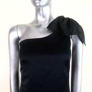 Warehouse Black One Shoulder Mini Dress Bow Bubble Hem Satin Spotlight UK 10