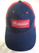 Budweiser Hat Embroidered Patch Red Blue Bowtie Velcro Adjustable Ball Cap Beer