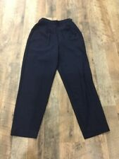 Plaza South Petite Size 6 Side Button Elastic Back Dress Pants Navy Blue Tapered