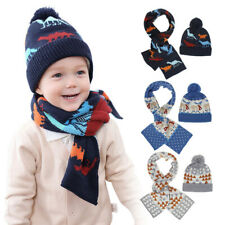Boys Kids Winter Dinosaur Bobble Beanie Hat Scarf Set Knitted Warm Hat Skull Cap