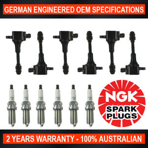 6x Genuine NGK Spark Plugs & 6x Ignition Coils for Nissan Patrol Y61 ST