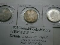 GERMANY 5 MARKs 1951F 1964G 1970F SILVER WORLD COIN LOT EB345 free shipping