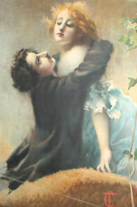 Vintage Man Woman Portrait Canvas Print Signed